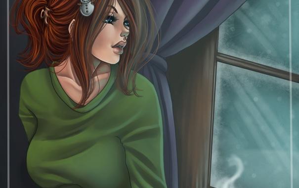 Фото обои зима, девушка, снег, лицо, волосы, кофе, утро