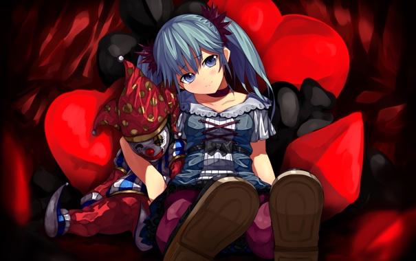 Фото обои подушки, клоун, арт, девочка, vocaloid, hatsune miku, вокалоид