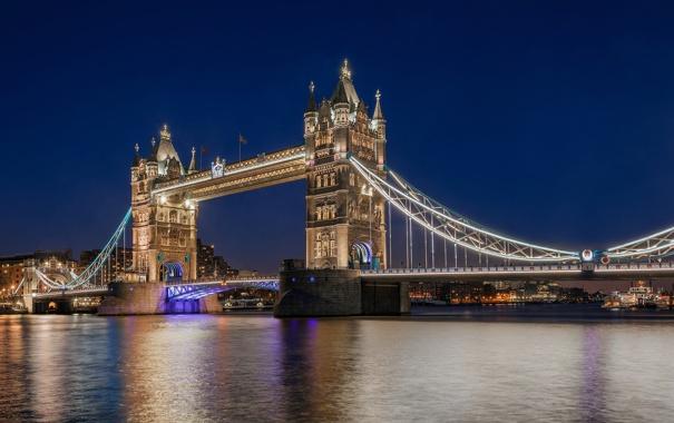 Фото обои вода, свет, ночь, огни, отражение, река, Англия