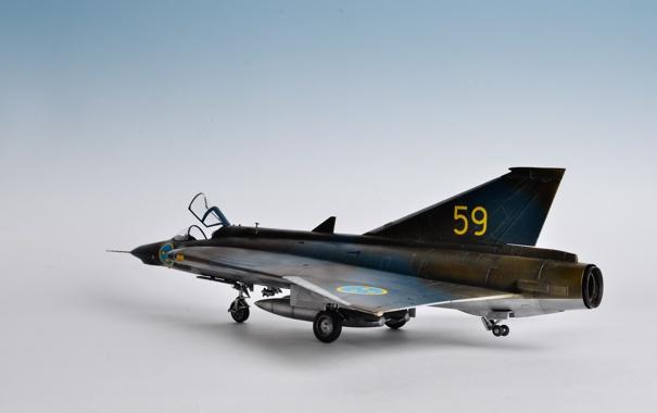 Фото обои истребитель, сверхзвуковой, шведский, S35E Draken, игрушка моделька