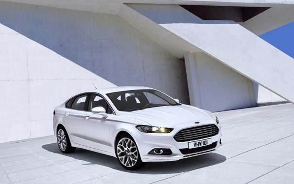 Фото обои белая, ford, форд, fusion, мондео