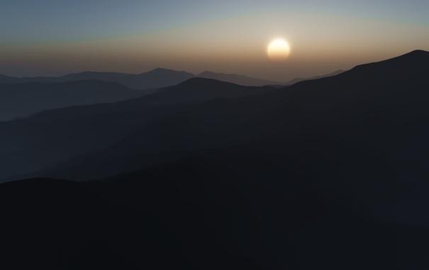 Фото обои солнце, горы, фото, пейзажи, вид, вечер, утро