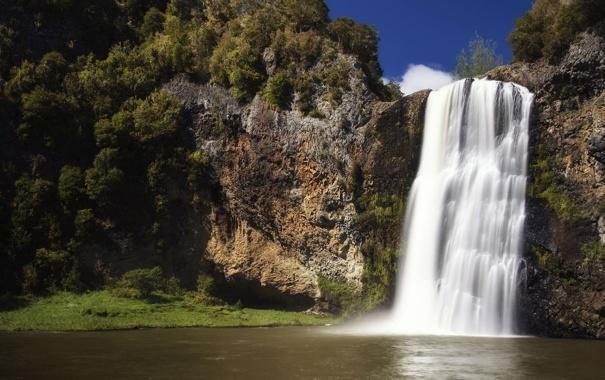 Фото обои лес, камни, Водопады