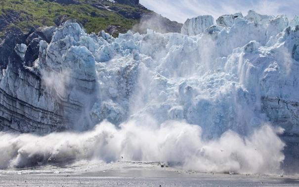 Фото обои море, природа, озеро, обои, ледник, wallpaper, Alaska