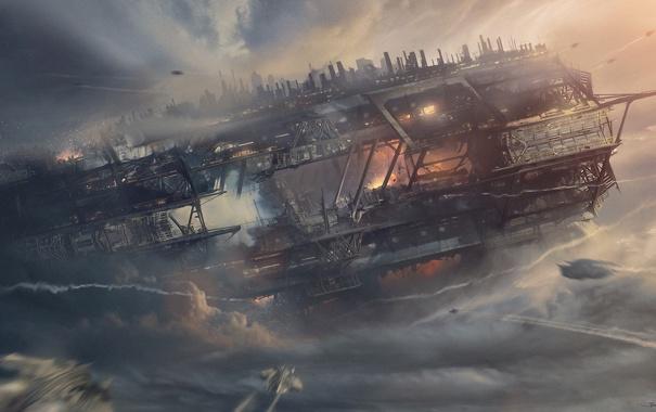 Фото обои облака, полет, корабль, станция, арт, истребители, нападение