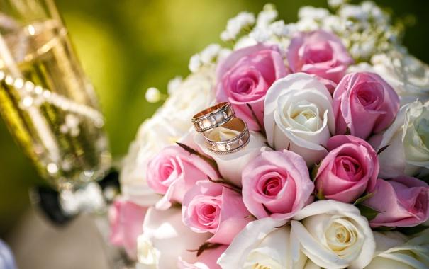 Фото обои цветы, бокал, розы, букет, кольца
