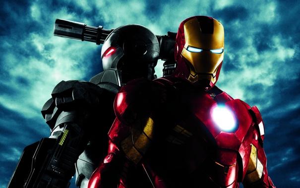 Фото обои оружие, фантастика, костюм, двое, постер, Железный человек 2, Iron Man 2