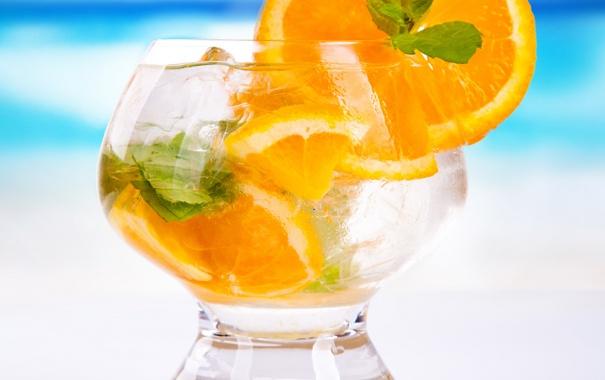 Фото обои summer, beach, fresh, fruit, orange, drink, cocktail