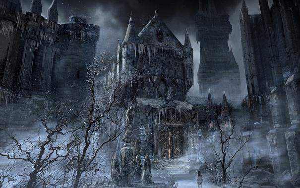 Фото обои bloodborne, ночь, мужчина, город, hunter, деревья, арт