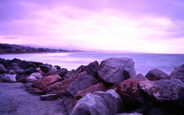 Фото обои небо, вода, облака, пейзаж, природа, камни, океан