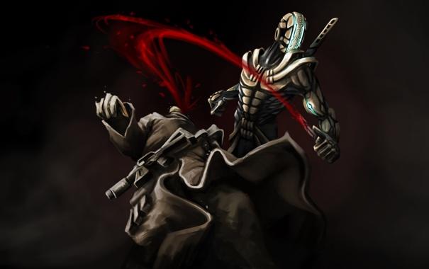 Фото обои оружие, кровь, убийство, арт, нож, автомат, броня