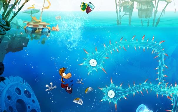 Фото обои синий, игра, медузы, щупальцы, Рэйман, водный мир, Rayman Origins
