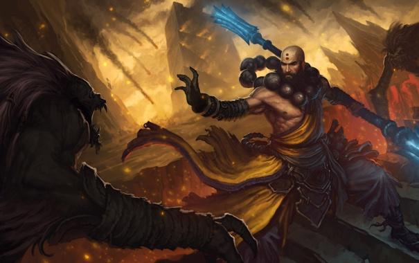 Фото обои горы, монстры, монах, лава, посох, раскол, diablo 3