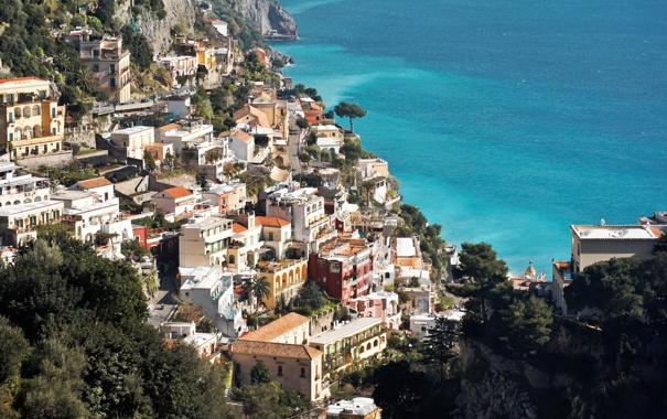 Фото обои город, побережье, сверху, дома, фото, Италия, Amalfi