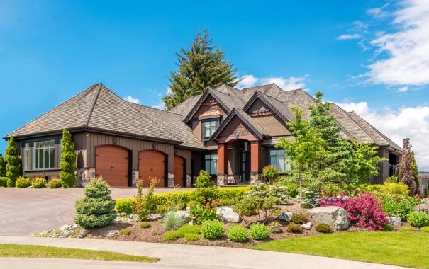 Фото обои дорога, деревья, дизайн, дом, камни, газон, тротуар