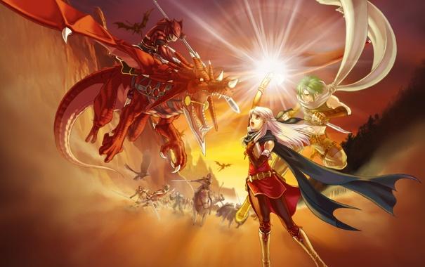 Фото обои фентези, магия, дракон, игра, ситуация, аниме, бой