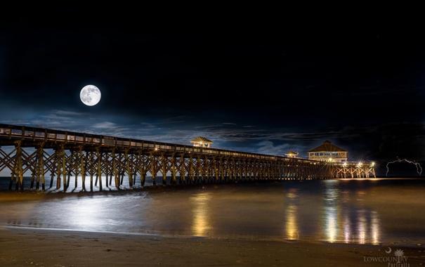 Фото обои море, ночь, луна, пристань, пирс
