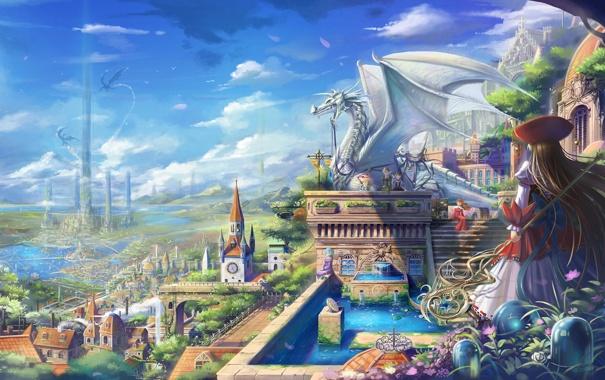 Фото обои город, дракон, статуя