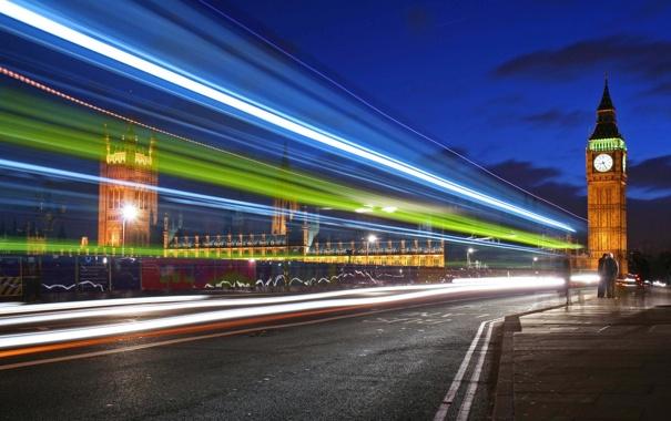 Фото обои свет, полосы, скорость, Ночь, выдержка, башни, мегаполис