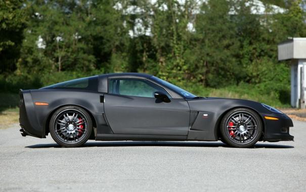 Фото обои черный, карбон, corvette, диски, z06