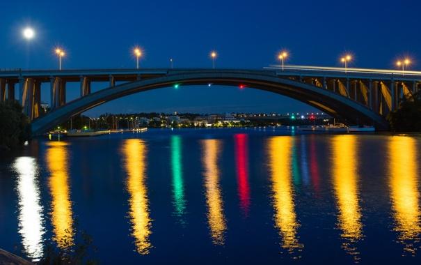 Фото обои небо, мост, огни, отражение, река, дома