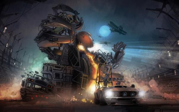 Фото обои машины, гонка, монстр, самолеты, арена, Motorstorm