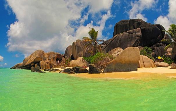 Фото обои море, небо, пейзаж, природа, камни, фото, побережье