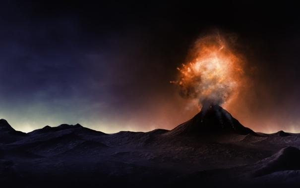 Фото обои природа, рисунок, вулкан, извержение