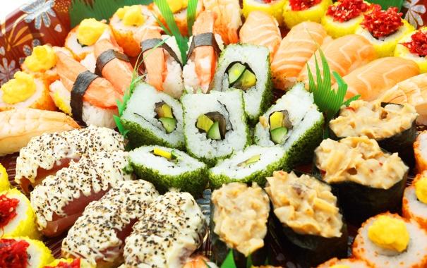 Фото обои рыба, sushi, суши, fish, роллы, морепродукты, японская кухня
