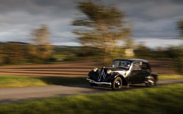 Фото обои дорога, машина, движение, Citroën 11 Traction Avant 1934