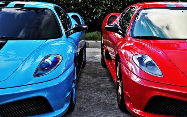 Фото обои красный, голубой, ferrari, феррари, f430, спорткары