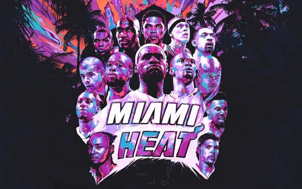 Фото обои Майами, Спорт, Команда, Баскетбол, Miami, NBA, Heat