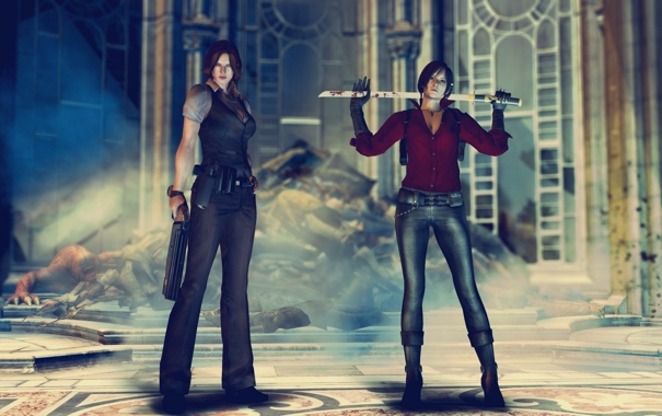 Фото обои Обитель зла, Resident Evil 6, ада вонг, Helena Harper, Ada Wong
