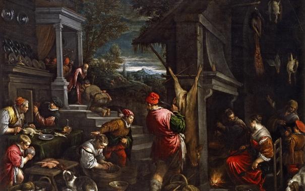 Фото обои люди, картина, жанровая, мифология, Франческо Бассано, Возвращение Блудного Сына
