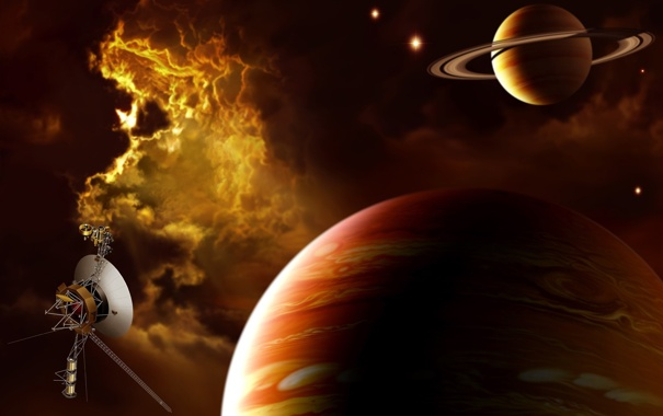 Фото обои туманность, корабль, Сатурн, Юпитер