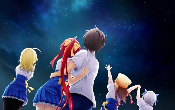Фото обои небо, звезды, ночь, девушки, аниме, арт, форма