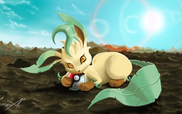 Фото обои солнце, животное, земля, шар, лежит, art, Pokemon