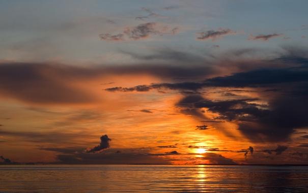 Фото обои закат, Море, залив, финский