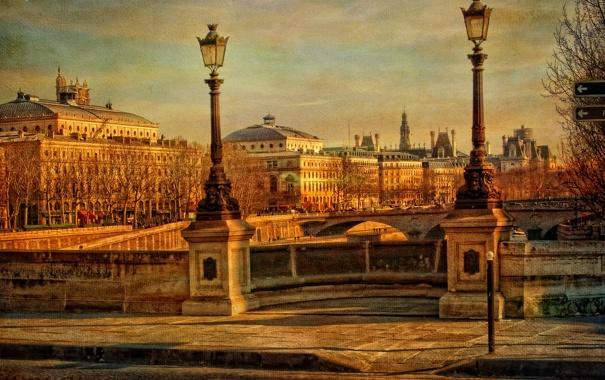 Фото обои осень, небо, мост, река, Франция, Париж, дома