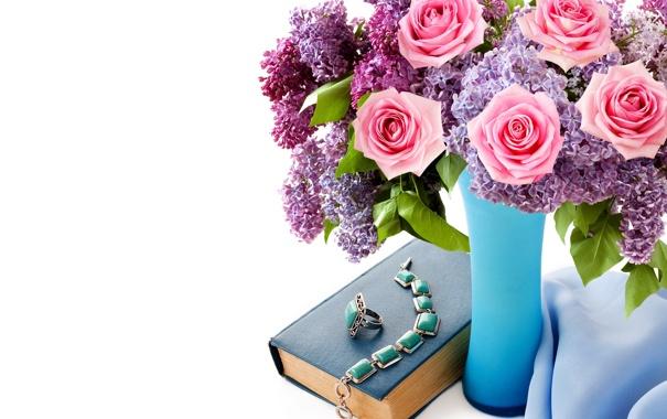 Фото обои цветы, розы, букет, кольца, ожерелье, книга, колье