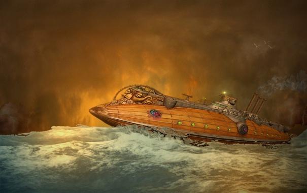 Фото обои море, волны, лодка, дым, чайки, труба, субмарина