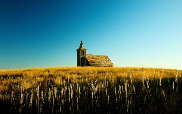 Фото обои поле, небо, пейзаж, храм