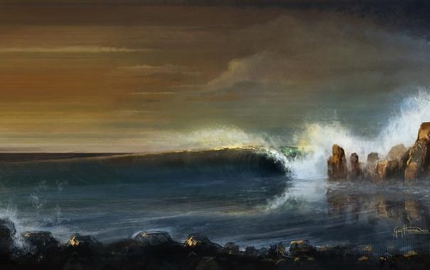Фото обои море, скалы, берег, волна, арт, Georg Hilmarsson