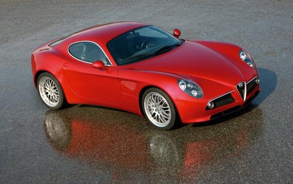Фото обои car, отражение, мокрый асфальт, road, Alfa romeo