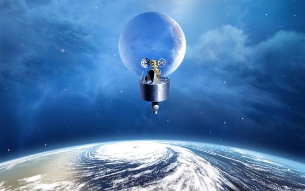 Фото обои небо, планета, спутник, летательный аппарат