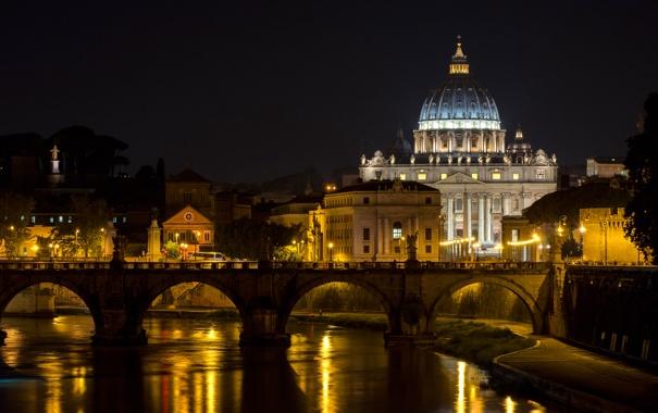 Фото обои ночь, мост, огни, река, Рим, Италия, Ватикан