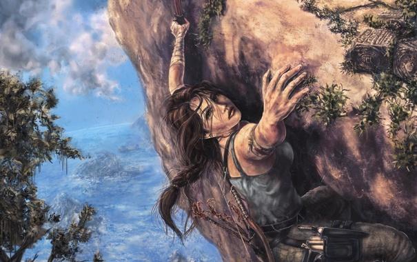 Фото обои девушка, скала, Tomb Raider, лара крофт