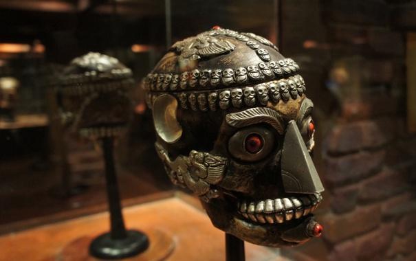 Фото обои human, mask of tribes, decorated head shape