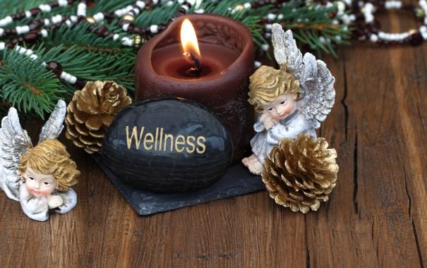 Фото обои Рождество, шары, wellness, Christmas, свеча, New Year, angel