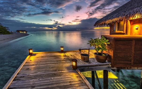 Фото обои небо, закат, океан, вечер, Мальдивы, мостик, бунгало